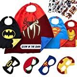LAEGENDARY Superhero Costumes for Kids -4 Capes and Masks - Glow Spiderman Logo - Boys and Girls Toys - Birthday Gifts and Party Supplies for Kids