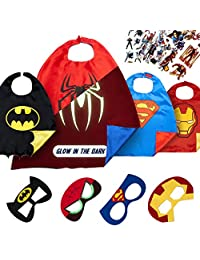 LAEGENDARY Super Hero Capes for Kids Toys – Dress Up Clothes for Boys – Christmas Superhero Party Supplies Birthday – 4 Kids Costumes with Glow in the Dark Spiderman Logo