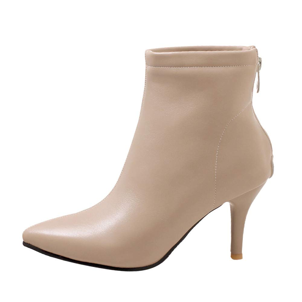 Winter Women Thermal Boot,Women's Pointed-Toe Shoes Side Zipper High Heel Short Plush Fashion Ankle Boots (Beige, 5.5)