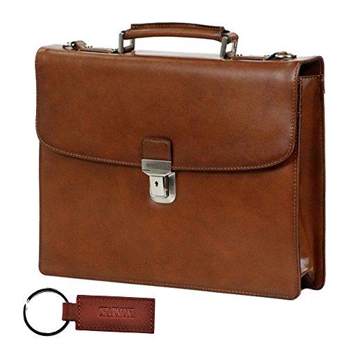 Charmoni–Maletín con un compartimento, de nailon y cuero de piel de becerro Marrón - marrón
