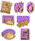 ( 7 in Set)Baroque Style Curlicues Scroll Lace Photo frame Fondant Silicone Mold for Sugarcraft, Cake Border Decoration, Cupcake Topper, Jewelry, Polymer Clay, Crafting Projects