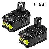 2 Packs 5.0Ah High Capacity P108 Battery for Ryobi 18V Lithium Ion Battery P102 P103 P104 P105 P107 P108 for Ryobi 18-Volt ONE+ Plus Power Tool Battery