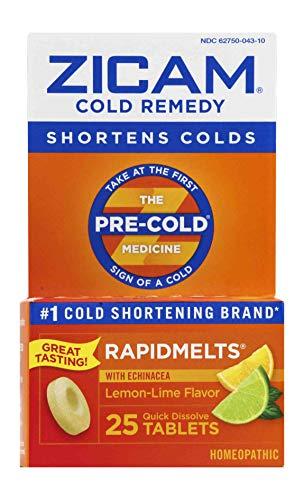 Zicam Cold Remedy Rapidmelts, Lemon-Lime with Echinacea, 25 Quick-Dissolve Tablets