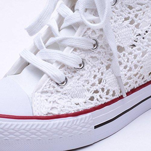 Pizzo Bianco Scarpe Zeppa Casual Donna 09 Interna MForshop Ginnastica Platform Sneakers k9xx69b RB0CBx
