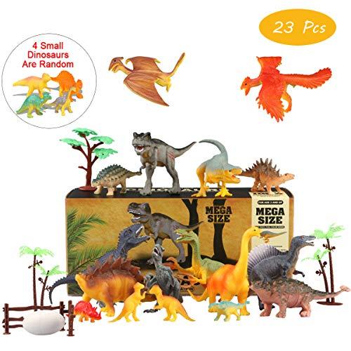 Estela Joylink Dinosaur Toys Set, Realistic Assorted Educational Dinosaur Figures, Party Supplies with Trees (Pack of 23) -