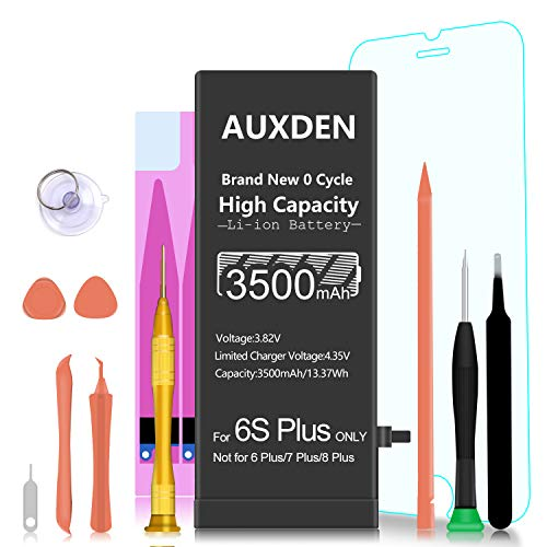 3500mAh Replacement Battery Compatible with iPhone 6S Plus, Auxden New 0 Cycle High Capacity Li-ion Battery with Complete Repair Tool Kits and Screen Protector - More Capacity, Longer Lasting