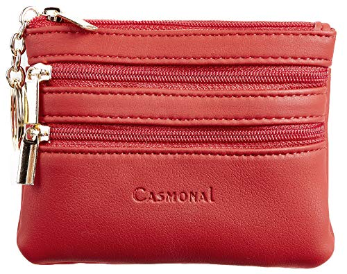 (Casmonal Womens Genuine Leather Coin Change Purse Pouch Slim Minimalist Front Pocket Wallet Key Ring (Red Classic))