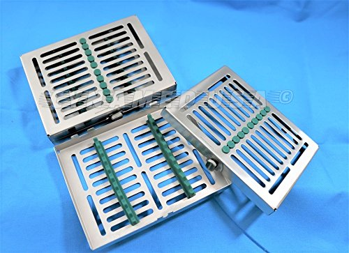 1 GERMAN DENTAL AUTOCLAVE STERILIZATION CASSETTE RACK BOX TRAY FOR 10 INSTRUMENT WITH LOCK -A+ QUALITY by CYNAMED
