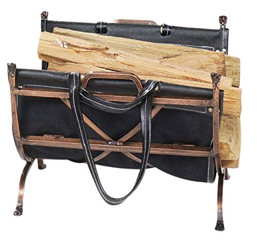 (Uniflame Benton Bay Log Holder with Leather Carrier)