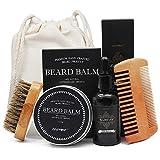 Beard Grooming Kit, Beard Brush, Beard Comb,Unscented Beard Oil Beard Balm Trimmingfor Men Care by Aptoco