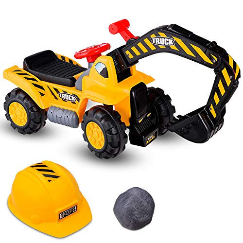 Costzon Kids Ride On Construction Excavator, Outdoor Digger Scooper Tractor Toy W/Safety Helmet, Rocks, Horn, Underneath Storage, Moving Forward/Backward, Pretend Play Ride On Truck (Excavator)