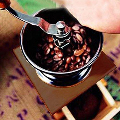 Vanki Mini Manual Coffee Mill Wood Stand Metal Bowl Antique Hand Coffee Bean Grinder by vanki (Image #3)