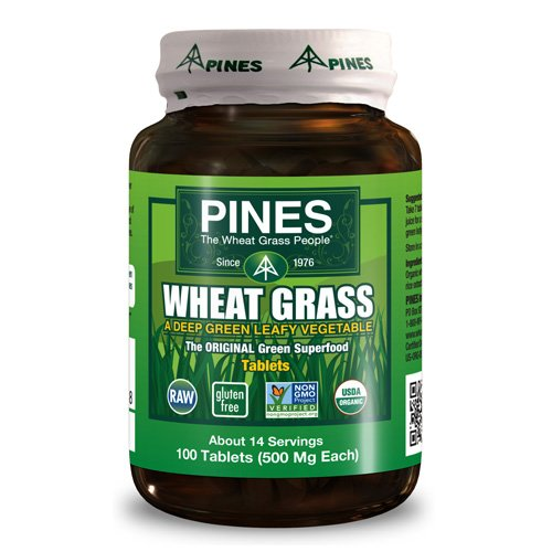 Pines International Organic Wheat Grass - 500 mg - 100 - Tablets Wheatgrass Pines