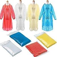 Rusilay 5 PCS Rain Ponchos for Adults Disposable - Thick Emergency Waterproof Rain Poncho with Drawstring Hood Raincoat,Unisex Rain Cape