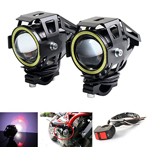 (LEDUR Motorcycle Headlight Led U7 DRL Fog Driving Running Light with Angel Eyes Lights Ring Front Spotlight Strobe Flashing White Light and Switch(2PCS,White Halo))