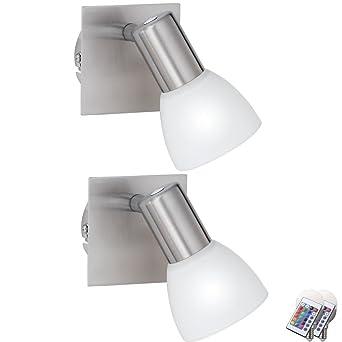 2er Set RGB LED Wand Spot Strahler Glas Lampen Dimmbar Fernbedienung WohnZimmer Beweglich