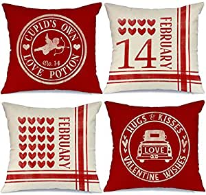 Aeney Valentines Day Pillow Covers 18x18 Set Of 4 Valentines Day Decor For Home Red Love Heart Truck Cupid Valentine Pillows Decorative Throw Pillows Farmhouse Valentines Day Decorations A318 18 Home Kitchen