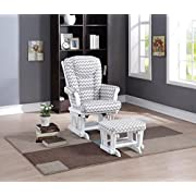 Naomi Home Deluxe Multi-Position Sleigh Glider and Ottoman Set, Gray Chevron/White