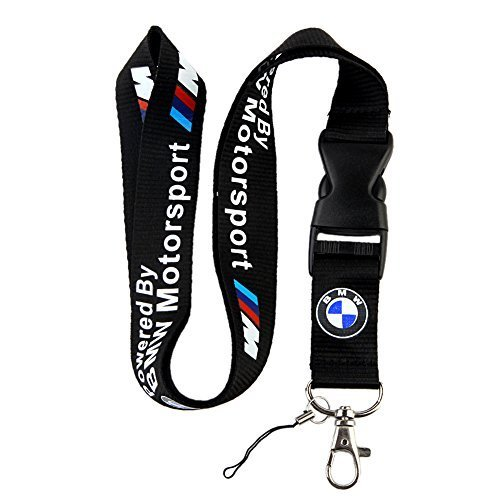 BMW Motosport Logo Keychain Key Chain Black Lanyard Clip with Webbing Strap Quick Release Buckle