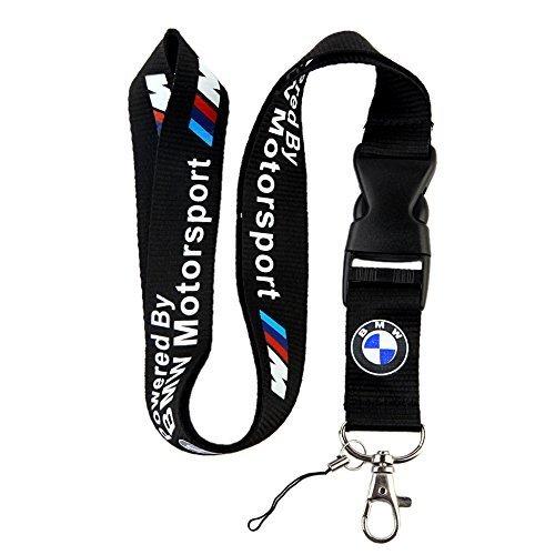 (BMW Motosport Logo Keychain Key Chain Black Lanyard Clip with Webbing Strap Quick Release Buckle)