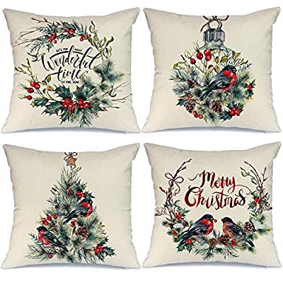 AENEY Farmhouse Christmas Pillow Covers 18x18 inch Set of 4 for Home Decor Farmhouse Christmas Decor Christmas Pillows Christmas Decorations Throw Pillow Covers - Great Addition for Christmas Decor : Our christmas pillow cover can help you to change christmas decorations quickly. Unique christmas element design match the christmas decor very well. Great Holiday Gift : Perfect farmhouse style christmas decorations are a holiday necessity for your family and friends. Comfortable, Durable and Well Made : Excellent breathable linen fabric and handmade make it comfortable, durable, beautiful. Machine washable and the hands washable. The pattern does not fade. Hight quality hidden zipper to meet an elegant look. - patio, outdoor-throw-pillows, outdoor-decor - 51OSVOJ86gL. SS400  -