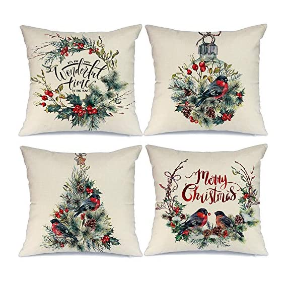 AENEY Farmhouse Christmas Pillow Covers 18x18 inch Set of 4 for Home Decor Farmhouse Christmas Decor Christmas Pillows Christmas Decorations Throw Pillow Covers - Great Addition for Christmas Decor : Our christmas pillow cover can help you to change christmas decorations quickly. Unique christmas element design match the christmas decor very well. Great Holiday Gift : Perfect farmhouse style christmas decorations are a holiday necessity for your family and friends. Comfortable, Durable and Well Made : Excellent breathable linen fabric and handmade make it comfortable, durable, beautiful. Machine washable and the hands washable. The pattern does not fade. Hight quality hidden zipper to meet an elegant look. - patio, outdoor-throw-pillows, outdoor-decor - 51OSVOJ86gL. SS570  -