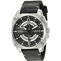 AVI-8 Men's 'Hawker Hunter' Quartz Stainless Steel and Leather Aviator Watch, Color:Black (Model: AV-4057-01)