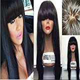 E-forest hair 7A Silk Top Full Lace Wig Virgin 100% Peruvian Remy Human Hair Silky Straight With Blunt Hair 18 inch Natural Black 130 Density Baby Hair & Bleached Knots Stocking Stuffer For Women
