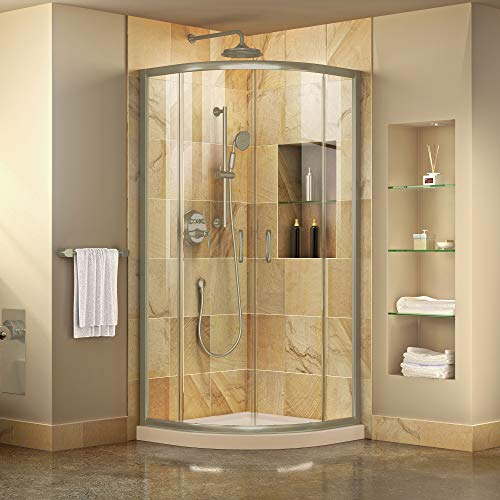 DreamLine Prime 33 in. x 74 3/4 in. Semi-Frameless Clear Glass Sliding Shower Enclosure in Brushed Nickel with Biscuit Base Kit, DL-6701-22-04