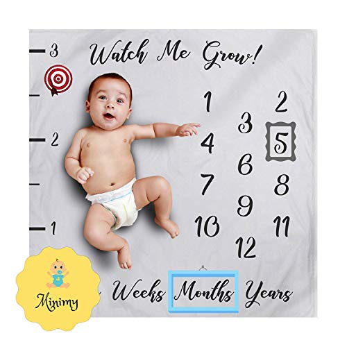 Minimy Premium Baby Milestone Blanket - Watch Me Grow Blanket for Boy & Girl, Photography Background Prop Growing Infants & Toddlers | Soft Fleece Material, Large Size 47x47 | Perfect Holidays Gift