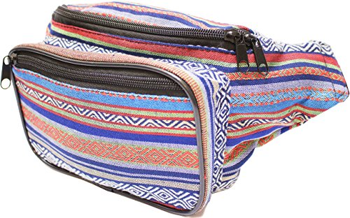 SoJourner Festival Fanny Pack - Boho Packs for men, women | Cute Waist Bag Fashion Belt Bags (blue -