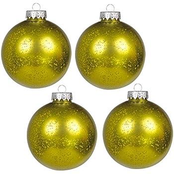 "KI Store Christmas Mercury Ball Ornaments Outdoor Hanging Tree Decorations Large Shatterproof Shinny Vintage Balls Set of 4 (4"" Green)"