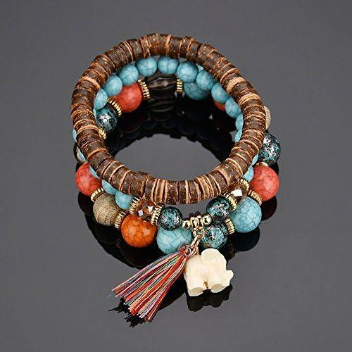 Charme Ethnique Femmes Tassel Turquoise Bijoux Bracelets Perles Bracelets multicouche