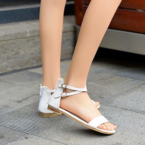 Coolcept Mujer Moda Correa de Tobillo Sandalias Punta Abierta Plano Zapatos con Cremallera (40EU,Gold)