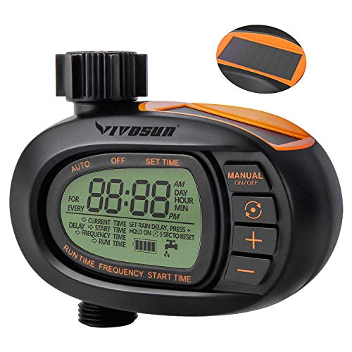 VIVOSUN Watering Timer, Solar Powerd Garden Hose Faucet Timer, Huge LCD Display Screen, Big Comfortable Buttons, Smooth and Concise Oval Design
