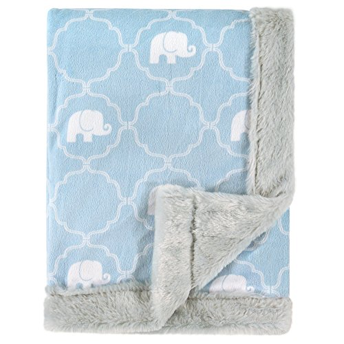 Hudson Baby Plush Blanket with Furry Binding & Back, Elephant by Hudson Baby