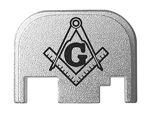 for Glock Back Plate Gen 1-4 17 19 21 22 23 27 30 34 36 41 Silver NDZ - Masonic Square and Compass