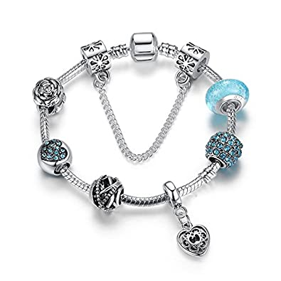 c5f83cd62 Buy Carina Sterling Silver Sky Blue Pandora Style Charm Bracelet for Women  Girls Online at Low Prices in India | Amazon Jewellery Store - Amazon.in