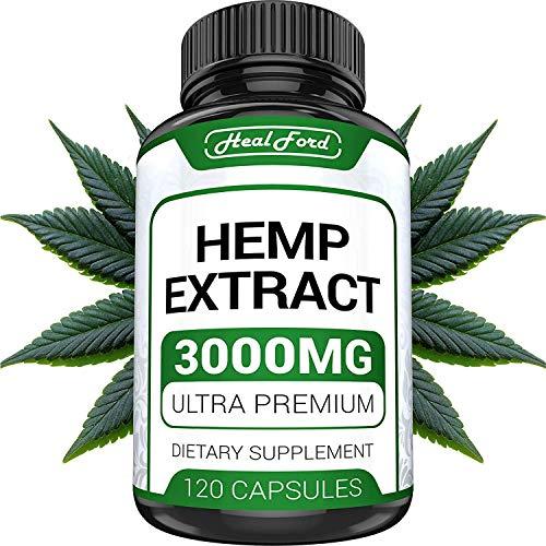 - Hemp Oil Capsules 3000 MG - Anxiety & Stress Relief - Hemp Capsules Made in USA - 100% Natural - Anti Inflammatory, Mood & Immune Support - Skin Health, Deep Sleep - Ideal Omega 3, 6, 9 Source
