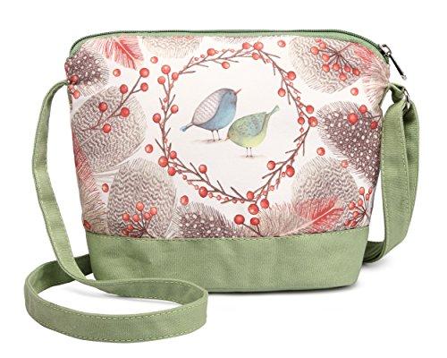 (Crest Design Cute Canvas Crossbody Bag Shoulder Bag Purse for Girl and teenage (Green Lark) )
