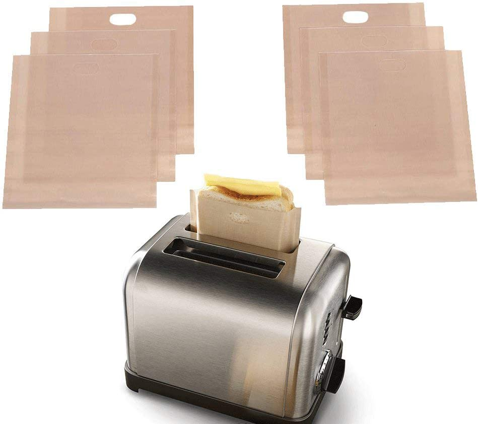 Toaster Bags Reusable for Grilled Cheese Sandwiches,Non Stick Sandwich Toaster Bags,Premium Quality Teflon Toaster Bags for Toaster, Microwave Oven or Grill,Large Size -Set of 6