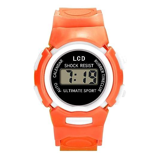 Loolik Relojes Infantiles,Moda Colorida Resina Impermeable Caso LED Digital Analógico Electrónica Deportes Reloj de los niños (Naranja): Amazon.es: Relojes