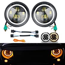 "YaeTact Pair of 7"" Halo Angel Eye 45W Round Cree Led HEADLIGHT DRL High Low Beam Amber Turn Signal for Harley Davidsion Motorcycle LJ Tj Fj Cruiser Hummer Land Rover defender Mercesdes Benz G"