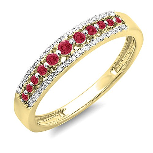 Dazzlingrock Collection 18K Round Ruby & White Diamond Ladies Anniversary Wedding Band Ring, Yellow Gold, Size 6