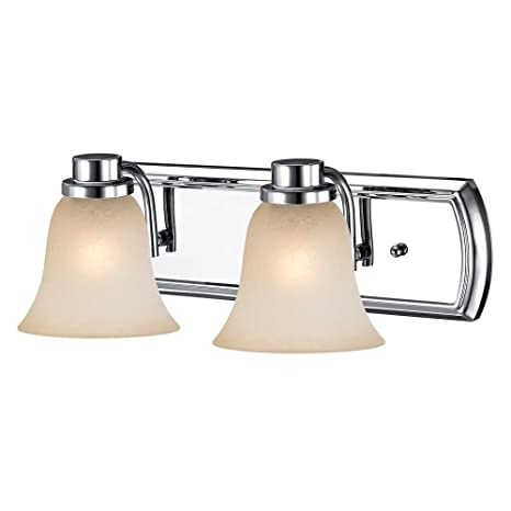 Caramel Glass Bathroom Light In Chrome With 2 Lights