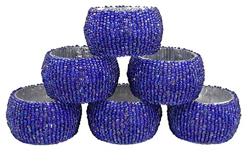 Avs Stores Set of 6 – Unique Napkin Rings Holder Blue Beads Napkin Ring Indian Handmade Dia-1.6 Inch, For Special Occasion, Birthday, Christmas, Any O…