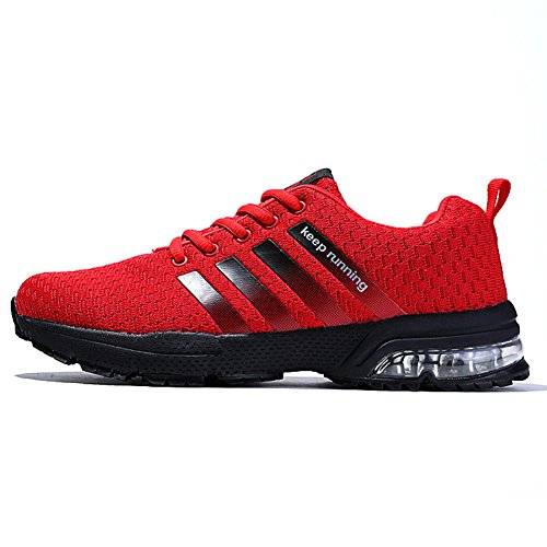 - Topteck Mens Air Cushion Running Shoes Women Lightweight Sports Sneakers Athletic Comfy Breathable Outdoor Walking Tennis Red Label42=10B(M)US Women/8.5D(M)US Men