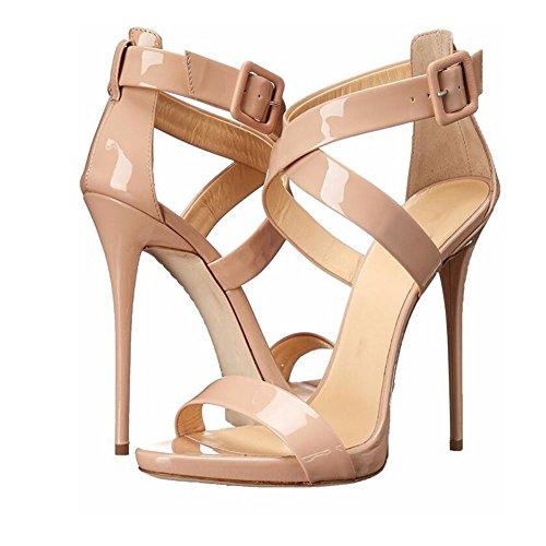 femeninas alto de verano de charol Zapatos sandalias 35 Nuevo Peep Zapatos tamaño 35 de mujer toe cruzada tacón tacón coreana con de de alto de correa Sandalias qaTtAwExz
