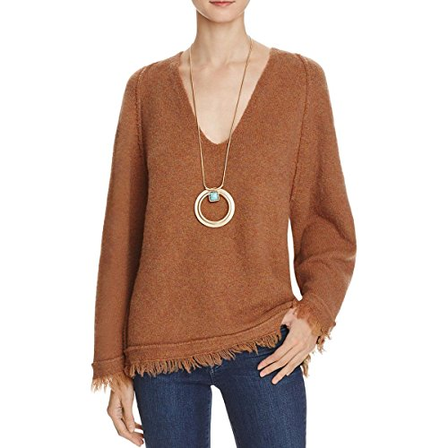 Free People Womens Irresistible Wool Blend Fringe Pullover Sweater Brown L (Free People Wool Sweater)