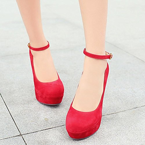 Court Vestir Aguja Mujer Tobillo Tacon Tacon Moda Alto De COOLCEPT Fiesta Zapatos Rojo Al wPxB4Yd8